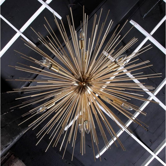 Monumental Brass Sputnik or Urchin Chandelier For Sale - Image 6 of 6