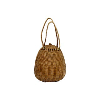 1940s French Wicker Hand Bag For Sale