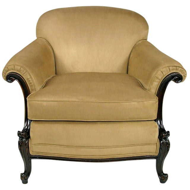 Early 20th Century Rolled-Arm Club Chair in Ultra Suede For Sale