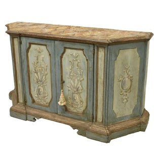 18th C Painted Credenza Sideboard Buffet With Faux Marble Top Preview
