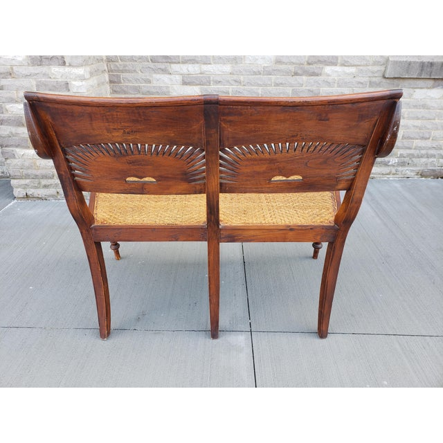 Antique Carved Wood & Caned Settee For Sale - Image 4 of 13