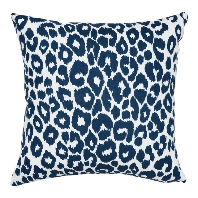 Schumacher Iconic Leopard Indoor/Outdoor Pillow in Navy For Sale