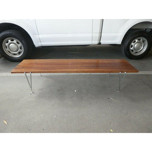 Mid Century Modern Hugh Acton Slatted Wood Bench For Sale - Image 9 of 9
