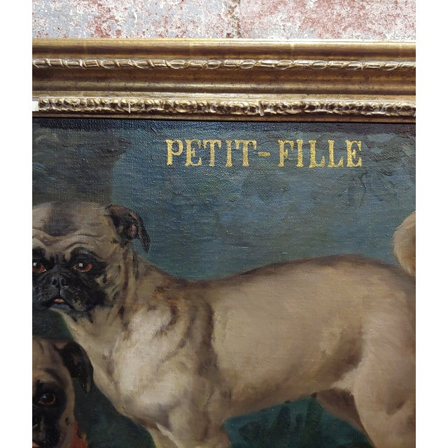 Brown Charles Nogaro - Portrait of Two Pugs-19th Century French Oil Painting For Sale - Image 8 of 10