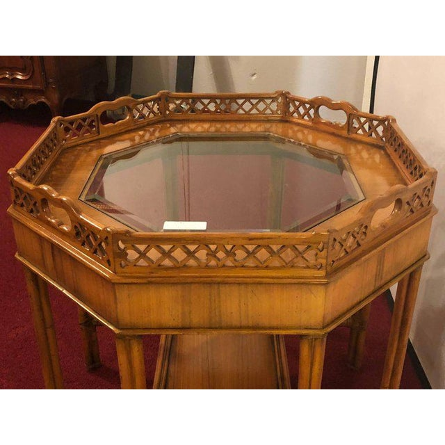 Maitland Smith Bamboo Form Octagon Shaped End / Lamp Table With Bevelled Glass For Sale - Image 11 of 13