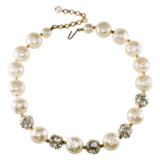 Cotton Ball Pearl & Rhinestone Necklace