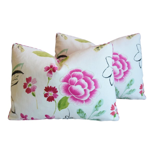 "French Manuel Canovas Floral Linen Feather/Down Pillows 22"" X 16"" - Pair For Sale"