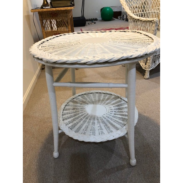 Vintage Wicker Two Tier Table For Sale - Image 4 of 6