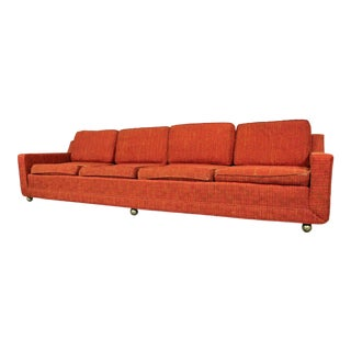 "Mid-Century Modern Kroehler Elongated 4-Seat Sofa on Wheels 109"" For Sale"