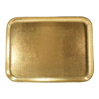 Vintage Mid-Century Gold Leaf Lacquered Serving Tray For Sale