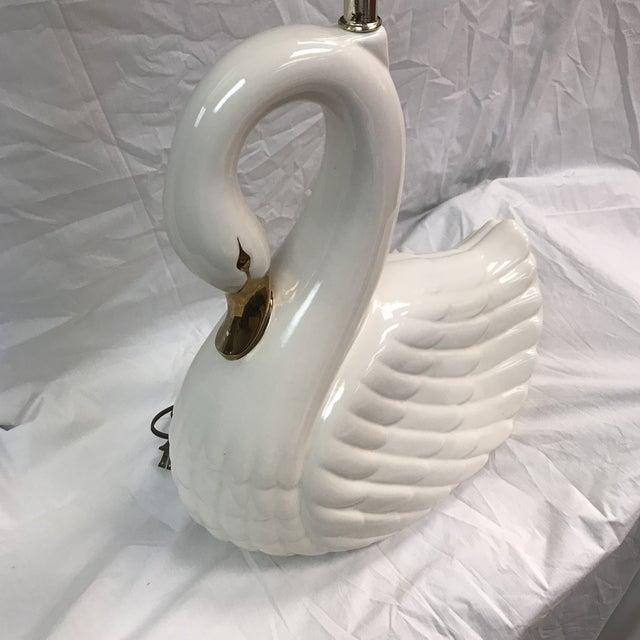 Large Vintage White Porcelain Swan Lamp - Image 6 of 11