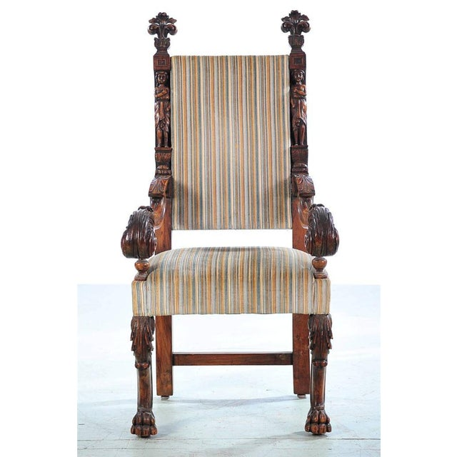 French 19th century Large Renaissance Carved Arm Chair. In excellent condition. Please check all the photos. If you have...