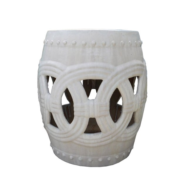 Round Ceramic Garden Stool with White Coin Pattern - Image 3 of 5
