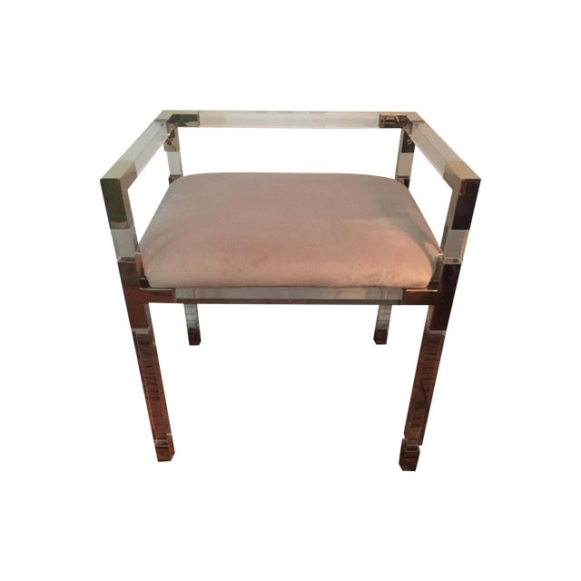 Adler Style 'Jacques' Lucite & Brass Chair Stool - Image 1 of 9