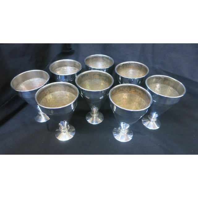 Art Deco Vintage Set of Eight Fashionable Aluminum Cups For Sale - Image 3 of 4