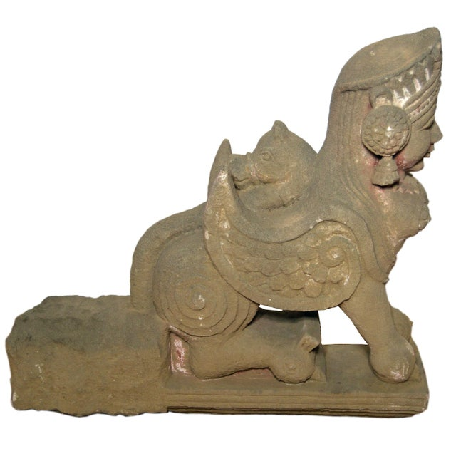 19th Century Hand-Carved Stone Sphinx With Tiara and Earrings Sculpture For Sale - Image 13 of 13
