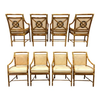 Vintage McGuire Target Back Dining Chairs - Sat of 8 For Sale