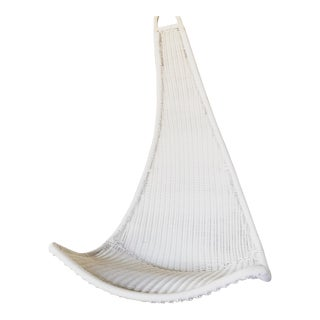 1970s Vintage Bohemian White Wicker Swing For Sale