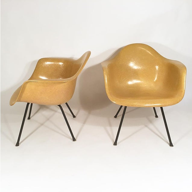 Pair of Eames lemon yellow shell chairs with cross leg lounge bases