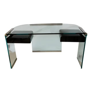 Pace Style Glass Desk With Nickel Plated Trim
