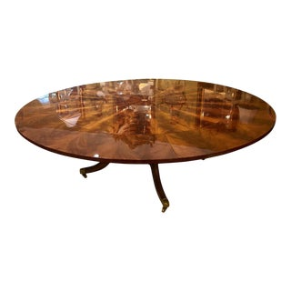 Stunting Flame Mahogany Sunburst Inlaid Circular Dining Table Leaves For Sale