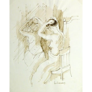 B. Charasson, French Ink Wash- Nu Sur Le Siège Devant Le Miroir (Naked on the Seat) For Sale