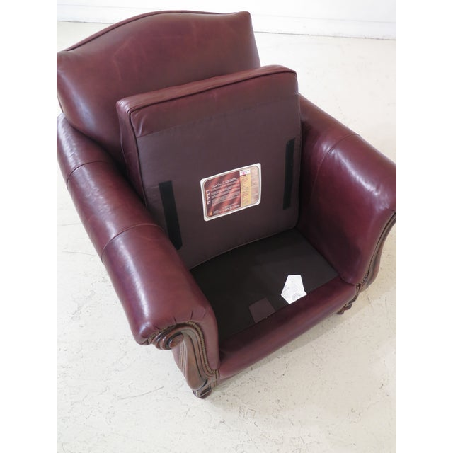Alexander Taylor Leather & Mahogany Club Chairs- A Pair For Sale - Image 11 of 13
