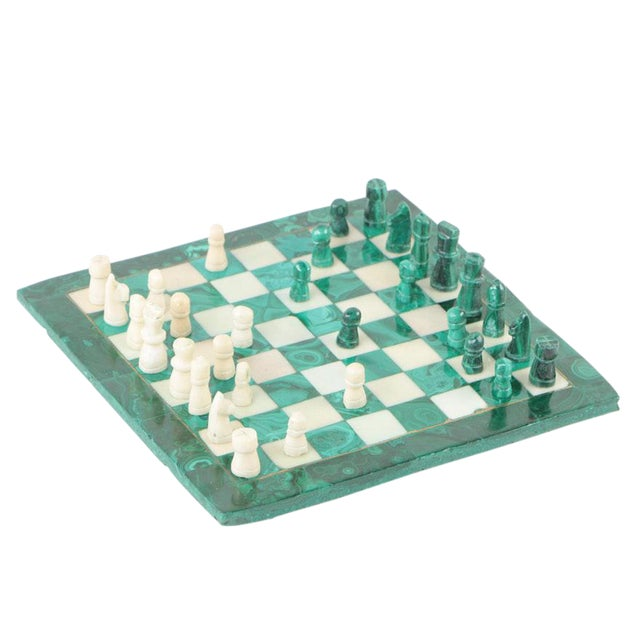 Vintage Malachite and Calcite Miniature Chess Set For Sale