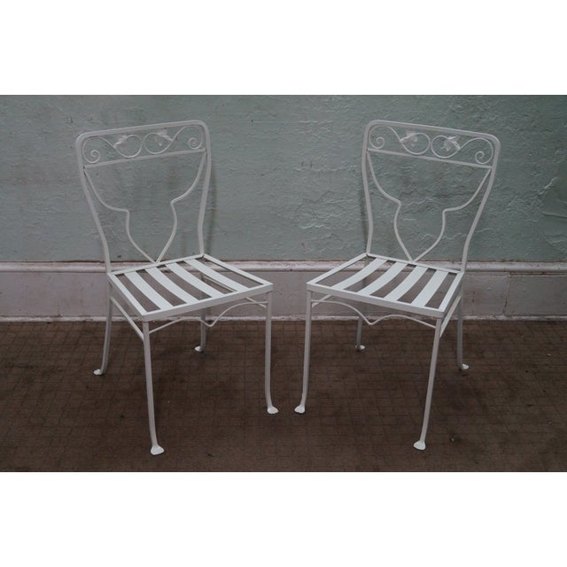 Vintage White Painted Iron Patio Dining Set - Image 6 of 7
