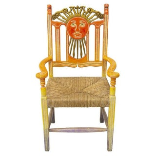 Mexican Hand Carved & Painted Ombre Sun Rush Seat Armchair - Pair Available Preview