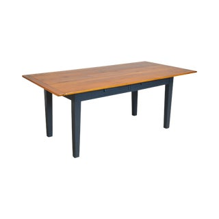 Antique Country Pine 2 Drawer Painted Base Farmhouse Dining Table For Sale