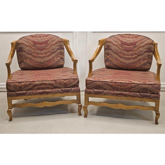 Vintage Burgundy Flame Wood Low Profile Chairs with Cane Back - a Pair For Sale - Image 9 of 9