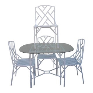 Hollywood Regency Faux Bamboo Cast Aluminum Table and Chairs- 6 Pieces For Sale
