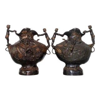 Art Nouveau Style Tow Tone Bronze Vases - a Pair For Sale