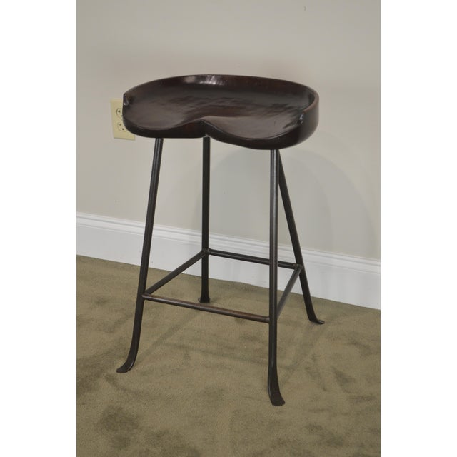Traditional Custom Quality Solid Wood Seat Pair of Iron Backless Bar Stools For Sale - Image 3 of 13