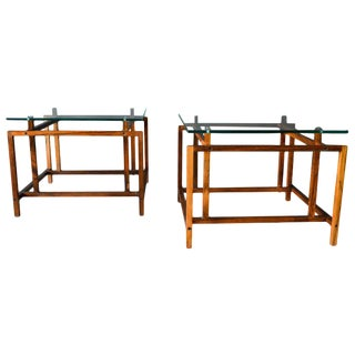 1960s Scandinavian Modern Henning Norgaard Rosewood and Glass Side Tables - a Pair For Sale