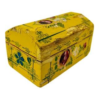Vintage Painted Wooden Trinket Box For Sale