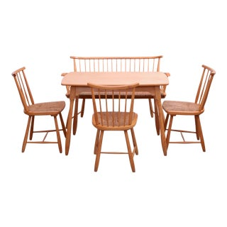 Arno Lambrecht Dining Set of Table, Three Chairs and a Bench for WK Mobel For Sale