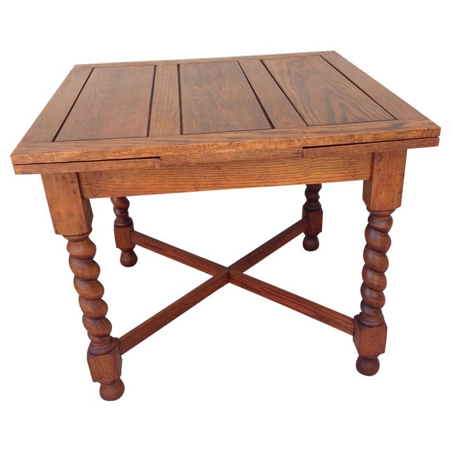 Antique Oak Barley Twist Pub Style Dining Table - Antique Oak Barley Twist Pub Style Dining Table Chairish