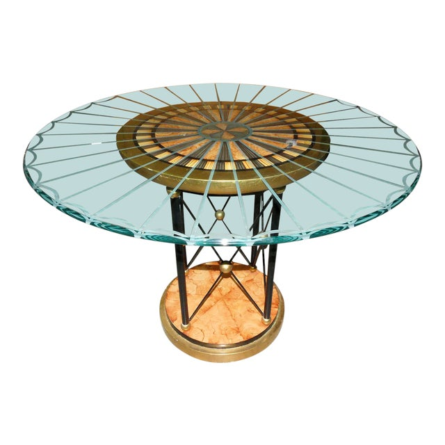 Art Deco Glass Top Center Table, Accent Table, or Dining Table For Sale