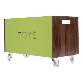 Toy Box Chest on Casters in Walnut With Green Finish For Sale