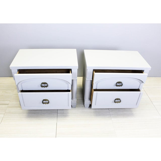 Gray Mid-Century Modern Walnut Nightstands - A Pair For Sale - Image 8 of 10