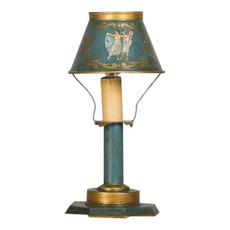 A rare Louis XVI style hand painted tôle lamp from France c. 1840 wired for American electricity For Sale