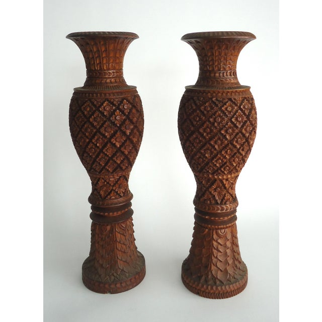 South East Asian Large Carved Wood Urn Lamp Bases- A Pair - Image 2 of 5
