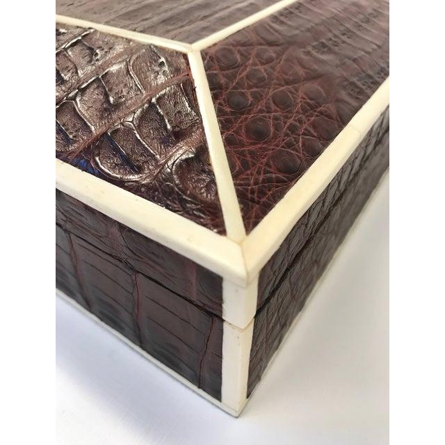 Modern Bone Inlay Brown Crocodile Box For Sale - Image 3 of 10