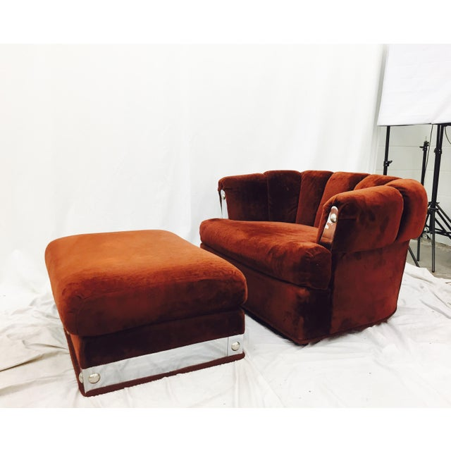 Boho Chic Vintage Mid-Century Modern Chair & Ottoman For Sale - Image 3 of 11