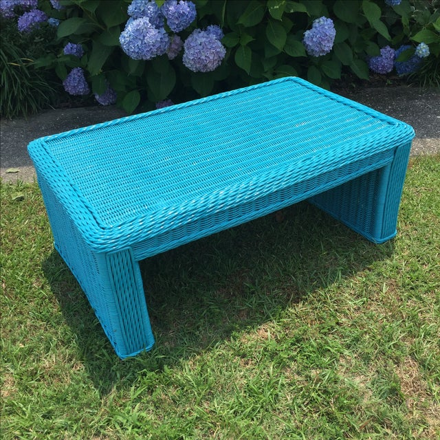 Caribbean Blue Indoor-Outdoor Wicker Coffee Table - Image 6 of 7