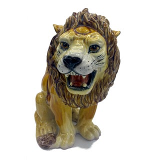 Large Italian Majolica Ceramic Roaring Lion Statue For Sale