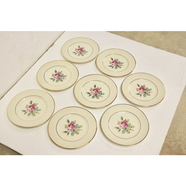 English Garden Rose China Plates, S/8 For Sale - Image 3 of 8