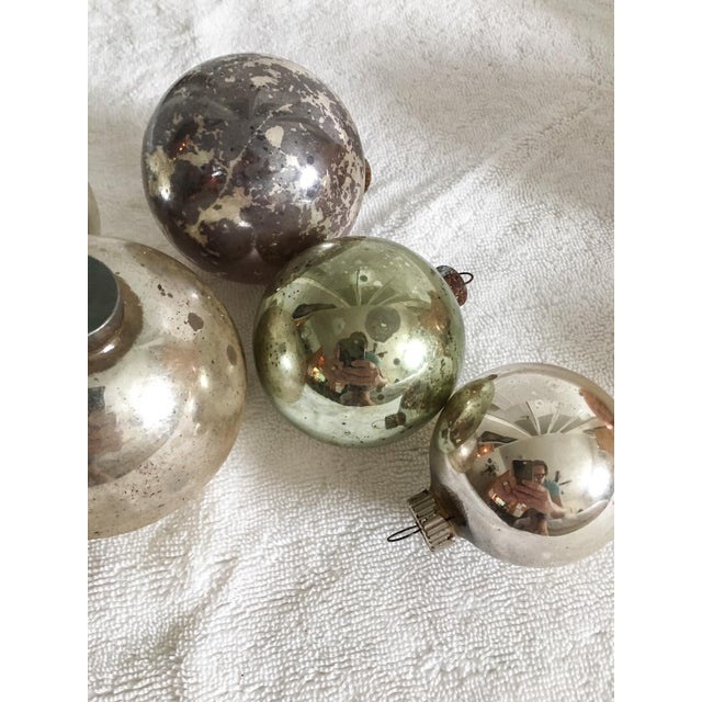 Vintage Mercury Glass Christmas Ornaments - Set of 6 - Image 5 of 5